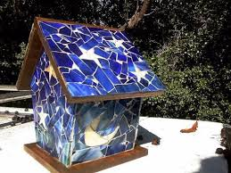 63 best stained glass mosaic bird houses images on pinterest