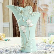 pastoral porcelain dragonfly and butterfly relief flower vase