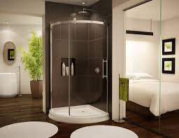 Whole Wall Sliding Glass Doors Cool Corner Shower Bathroom Design Featuring Glass Doors With