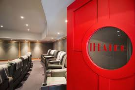 Carlisle Movie Theater For A Farmhouse Home Theater With A Carpet - Home theater design group