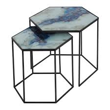 Hexagon Side Table Buy Notre Monde Hexagonal Nesting Side Table Set Cobalt Mist Amara