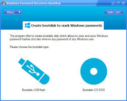 resetting windows password without disk windows password recovery bootdisk cracks user and admin password at
