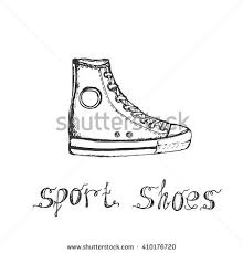 hand drawn sketch sport shoes sneakers stock vector 410176708
