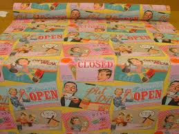 Curtain Upholstery Fabrics 1950s Tea Time Retro Designer Linen Look Curtain Upholstery Fabric