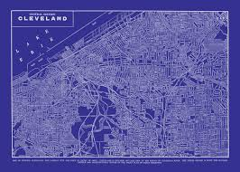 Map Of Cleveland Ohio by Cleveland Map Street Map Vintage Blueprint Print Poster