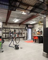 basement workshop garage contemporary with bicycles flush mount