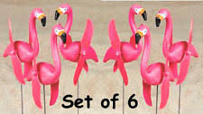 6 pink flamingos twirling spinning lawn ornament yard stakes