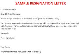 basic resignation letter samples format