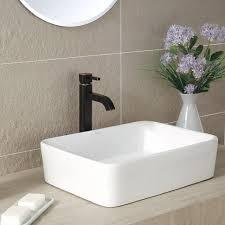 bathroom rectangular above counter sink shallow undermount sink