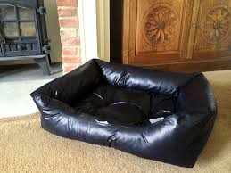 chilli dog black faux leather sofa dog bed