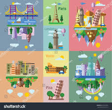 set different landscapes flat style urban stock vector 326842583