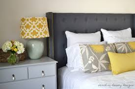 wonderful picture of bedroom decoration using wing tufted grey