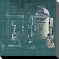 Star Wars Office Decor Star Wars R2d2 Blueprint Brand New Official Canvas Print Size