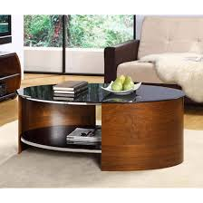 Walnut Wood Coffee Table Wood Coffee Table Oval In Black Glass With Walnut