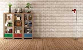 empty living room with vintage bookcase rendering stock photo