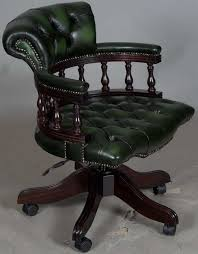 Leather Office Armchair Captains Style Green Leather Swivel Office Desk Chair