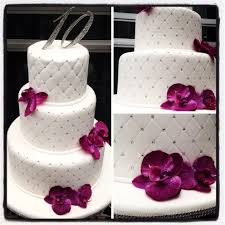 tenth anniversary ideas 10th anniversary cake with purple orchids sweetspiration