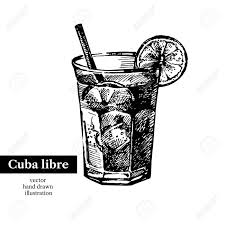 vintage martini clipart hand drawn sketch cocktail cuba libre vintage isolated object
