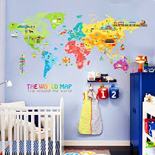 Large Nursery Wall Decals Iceydecal Large World Map Wall Decal