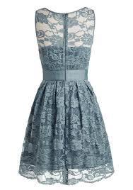 vintage a line jewel knee length lace grayish blue homecoming