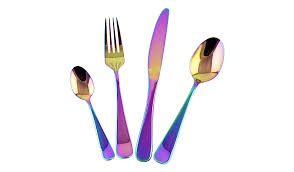 coloured kitchen knives set george home 16 iridescent cutlery set home garden george