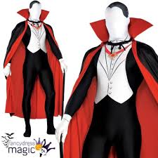 mens vampire dracula second skin halloween party suit fancy dress