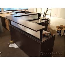 Reception Desk With Transaction Counter Espresso L Suite Reception Desk With Transaction Counter Allsold