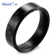 black wedding bands for men shardon 6mm high tech matte finish solid carbon fiber ring black