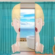 Sheer Door Curtains Aliexpress Com Buy Blue Sheer Door Curtain Panels W55xl78 Inch