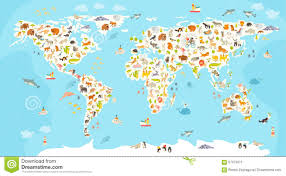 Map Of The World With Continents by World Mammal Map Beautiful Cheerful Colorful Vector Illustration
