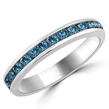 wedding bands on 0 50ct channel set blue diamond wedding ring