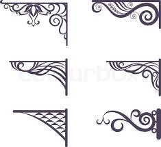 set decorative vintage forged brackets for signboard