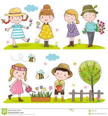 happy kids outdoor in spring season stock vector image 66445353