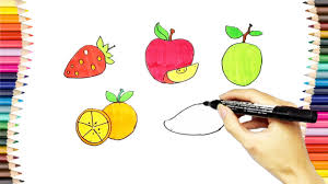 how to draw and color the fruits coloring pages for kids youtube