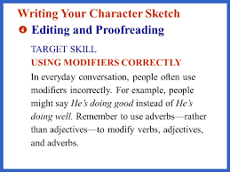 describing a character from reading to writing character
