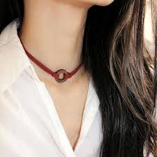 tattoo choker necklace aliexpress images Gothic double layer red wine leather tattoo choker necklace with jpg