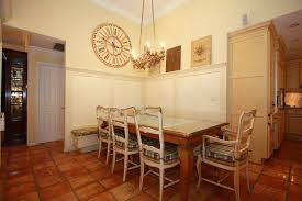 Dining Rooms With Wainscoting Country Dining Room With Terracotta Tile Floors U0026 Wainscoting In