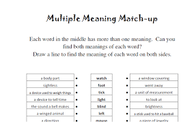 Meaning Words Worksheets Meaning Match Up Speechtivities