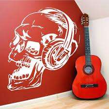 high quality skull wall vinyl buy cheap skull wall vinyl lots from art design skull with headphone music series wall sticker vinyl home living room cool decor wall