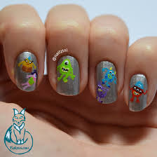 Monsters Inc Halloween by Cute Little Monsters Inc Halloween Nail Art Nailzini A Nail