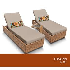 tuscan chaise set 2 outdoor wicker patio furniture with side