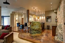 basement homes concrete floors in homes basement contemporary with boulders brick
