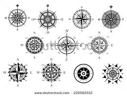 wind and nautical compass vectors free vector