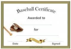 free baseball certificate awards customize online