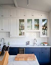 blue bottom and white top kitchen cabinets lower versus inner outer centsational style