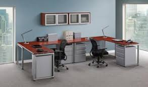 2 Person Computer Desk 2 Person Cherry L Shaped Desk Metal 3 Drawer Pedestals And