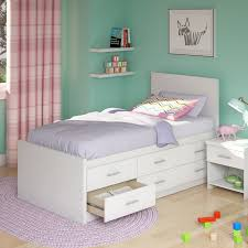 soft bed frame high white wood bed frame with headboard and six drawers