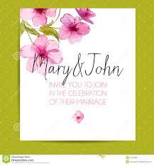 wedding invitation templates download wedding invitation template with sakura flowers stock vector
