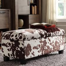 Overstock Bedroom Benches Sauganash Cowhide Print Lift Top Storage Bench By Inspire Q Bold