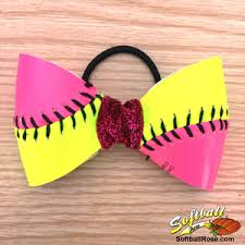 softball hair bows custom pink yellow softball hair bow choose your ribbon colors